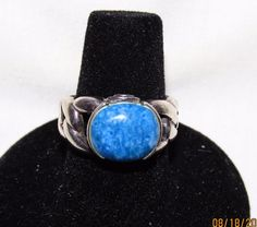 Signed Estate Sterling Silver Natural Blue White Denim Lapis Oval Ring Size 6.5…