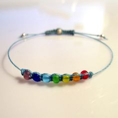 Seven colors chakra frienship bracelet rainbow czech by Korrigann, $15.00