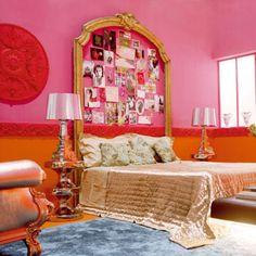 A pink baroque bedroom... I love the custom headboard!