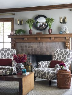 Jolt of Energy - If you're lucky to have a mantel with character, let the mantel be the star by minimizing your accessories. Fill the wall space with a simple mirror and pair of sconces and just a few well-placed objects. For a classic-with-a-twist look, start with a pair of vases in the middle and vary what's on either side of them.