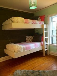 Floating Bunk Beds and Desk   Do It Yourself Home Projects from Ana White