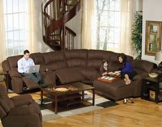 Lovely Interior Room Design : Stunning Sectional Sleeper Sofas with Chaise Ideas: Outstanding Living Room Design With Comfortable Brown Sectional Sleeper Sofas With Chaise Lovely Dark Wooden Staircase Colorful Carpet On Glossy Laminated Flooring Ideas ~ shokoa.com Apartment Inspiration