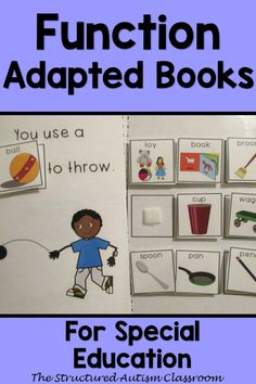 Identifying Function Adapted book for Autism, Special Education, and Speech Therapy. Describing adapted books for use with EET Communication Activities, Life Skills Activities, Book Activities, Autism Teaching, Autism Classroom, Special Education Teacher, Teacher Resources, Speech Language Therapy, Speech Therapy