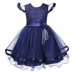 Colorful House Girls' Embroidery Flower Formal Party Princess Bridal Dress Royal Blue, Size 4 for US 3T-4T ** You can get additional details at the image link.
