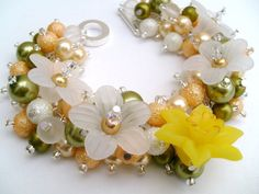 Spring Daffodil Pearl Beaded Fashion Bracelet Cluster by KIMMSMITH, $20.00