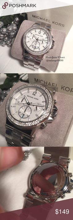 ✨💫MICHAEL KORS💫✨DYLAN CHRONO SILVER GLITZ WATCH Brand new and 100% authentic.  Item Shape	Round Dial window material type	Mineral Crystal Display Type	Analog Clasp	Deployment clasp with push-button Metal stamp	None Case material	Stainless Steel Case diameter	44 millimeters Case Thickness	13 millimeters Band Material	Stainless Steel Band length	22 mm Band width	24 millimeters Band Color	Silver Dial color	White Bezel material	Stainless steel w/ Swarovski Crystals Michael Kors Accessories…
