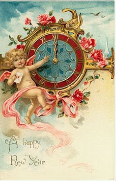 A Happy New Year ~ vintage holiday card with cherub and clock Vintage Happy New Year, Happy New Year 2015, Happy New Year Cards, Happy New Year Greetings, New Year Greeting Cards, New Year Wishes, Vintage Greeting Cards, Vintage Christmas Cards, Vintage Holiday