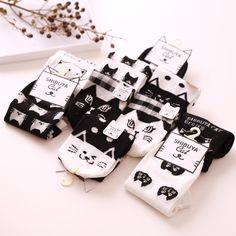 1 пара/лот прекрасные милые женщины лето хлопка полиэстера экипаж носки женский черный белый кошка с коротким лодка лодыжки Meias Calcetines купить на AliExpress