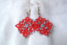 Tatted earrings coral and turquoise Tatted lace jewelry  beaded earrings jewelry. €12,00, via Etsy.