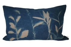 Botanical Blueprint Cushion on Taupe Linen
