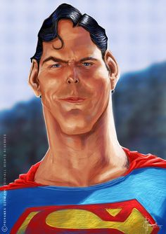 Christopher Reeve as Superman Cartoon Faces, Funny Faces, Cartoon Drawings, Cartoon Art, Christopher Reeve, Funny Caricatures, Celebrity Caricatures, Betty Boop, Cartoon Character Pictures