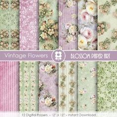 Floral Paper Vintage Roses, Shabby Chic Scrapbook Digital Paper Pack, Purple, Green, VIntage Roses - Collage Sheet - 1723 by blossompaperart Free Digital Scrapbooking, Digital Scrapbook Paper, Digital Paper Free, Papel Scrapbook, Digital Stamps, Digital Papers, Free Paper, Shabby Chic Paper, Vintage Borders