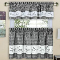 August Grove Tabares Live, Love, Laugh Kitchen Curtain Size: W x L, Color: Gray Shabby Chic Kitchen Curtains, Kitchen Window Curtains, Kitchen Curtain Sets, Country Curtains, Cafe Curtains, Valance Curtains, Kitchen Curtain Designs, Window Cornices, Kitchen Windows