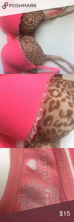 Lot of 2 Victoria secret bras 2 Victoria secret bras size 32B. Light-no padding. Hot pink bra has back clasp for a racerback. Very rarely used. Victoria's Secret Intimates & Sleepwear Bras