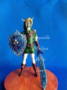 Wire sculpture of Link from The Legend of Zelda