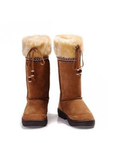 Brown Wool Beads Embellished Flat Women's Boots #Women #Boots