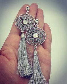 QUEEN Luxlace Silver 925 bobbin lace earrings with swarovski
