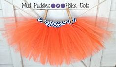 Chevron Navy and Orange lined tutu skirt for infant, baby, toddler, girls!  cheerleader, broncos, bears, denver, chicago, football, halloween, trendy, chic boutique, Mud Puddles and Polka Dots.