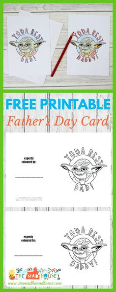 Yoda Best Dad Colouring Cards for kids to color in and give dad on Father's Day