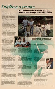 """Ohio University Today, Spring 1998. """"Fulfilling a Promise: OU-COM student leads health care team to Kenya, giving hope to country in need."""" """"Benson Bonyo....led a 28-member health care and research team from the university on a four-week expedition to Western Kenya."""" :: Ohio University Archives"""