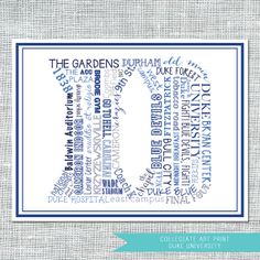 Duke University • Typographical Art Print • Amanda Franks Designs $17.00