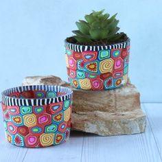 Colorful Succulents, Small Succulents, Colorful Plants, Unique Plants, Succulent Pots, Painted Clay Pots, Painted Flower Pots, Potted Plants, Indoor Plants