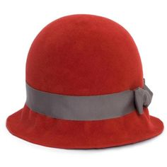LISA BATTAGLIA Madison Red Hat (22.950 RUB) ❤ liked on Polyvore featuring accessories, hats, red, red cloche, red cloche hat, red hat, cloche hat and block hats
