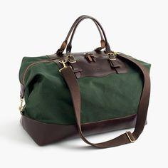 J.Crew Gift Guide: men's Billykirk® for J.Crew waxed canvas weekender bag.