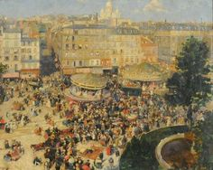 André Devambez (1867-1944) - La Place Pigalle (1906) National Museum of Fine Arts of Argentina, Buenos Aires, Carousels in art
