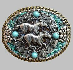 Wild Horses with Genuine Turquoise Western Southwestern Cowgirl Belt Buckle