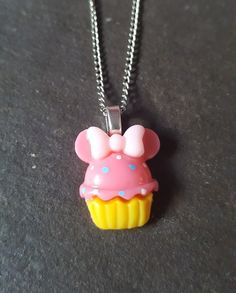 Cute Cupcake Resin Pendant Necklace - Bright Pink
