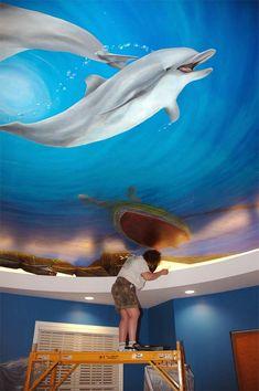 mural Ceiling | Nebraska Artist - Murals, dolphins, whale, fish, net, underwater ...