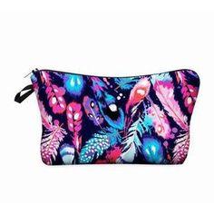 Makeup bag Feather Prints-AQUALUZZA Trendy feather print makeup bag for storing all your pretty colors. #makeup