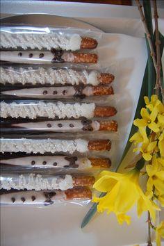 SUMMER WEDDING Bride and Groom chocolate covered PRETZEL rods wedding favors bridal shower favors