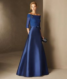Barbados - Flared maid of honor dress in mikado, gauze and gemstones