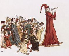 Pied Piper of Hamelin Kate Greenaway - English children's book illustrator and writer