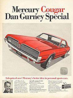 Mercury Cougar Dan Gurney Special RED Auto Car 1967 Ad
