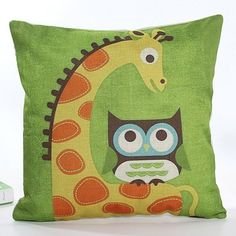 6.22$  Watch here - http://di33v.justgood.pw/go.php?t=171813801 - High Quality Square Shape Colorful Cartoon Owl and Giraffe Pattern Printed Flax Pillow Case ( Without Pillow Inner )