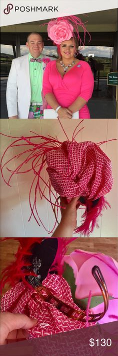 Huge Derby Easter Hat Fascinator Pink Rose This is a handmade fascinator. It is for experienced hat wearers only. It has a headband base but requires bobby pins to secure the hat to the hair. It will not stay secured to your head without the bobby pins!!! It was quite the hit for Derby Day and would be stunning for your special event! You will be the talk of the party! I personally made this fascinator, as I often make my own hats! I love Arturo Rios designs, as well as other unique designs…