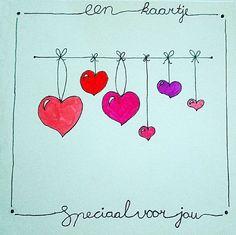Love & hug Quotes : Weer een mooi kaartje gemaakt - Quotes Sayings Valentines Watercolor, Watercolor Cards, Doodle Drawings, Easy Drawings, Happy Paintings, Heart Cards, Diy For Girls, Mail Art, Diy Cards