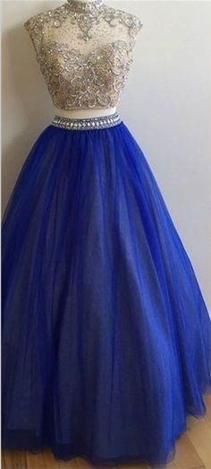 Blue round neck tulle sequin two pieces long