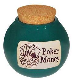 Casino Money Ceramic Jar Container Cork Lid Collectible ... |Gas Money Jar Pottery