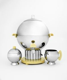 Art Deco Chrome and Bakelite Spherical Coffee Urn, Sugar, and Creamer Set (c.1935) by Manning-Bowman Co., American