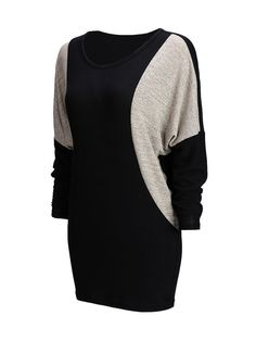 Chic Round Neck Color Block Batwing Long Sleeve Shift Dress