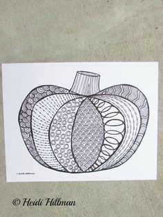Intricate and beautiful doodle pumpkin coloring page.  Perfect for autumn!