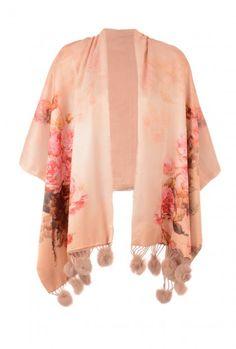 Jayley Rose Print Floal Silk Cashmere Mocha Wrap   Wraps