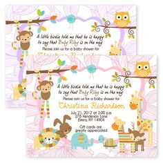 Large 5x7 Jungle Baby Shower Woodland Forest Friends Baby Shower Invitations #newyorkinvitations #BabyShower