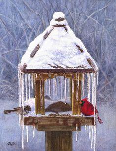 Cardinal, birds print of original watercolor painting $20