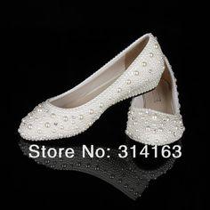Elegant Low Heel Bridal Shoes | ... Low Heel Pearl Shoes Elegant Ivory Wedding Wedge Shoes for Bride, $90