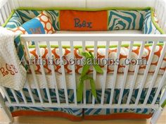 Baby Orange Blue & Lime Zaire Zebra Striped Crib Bedding